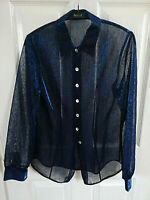 GEORGE WOMENS BLUE BLACK SHINY SPARKLY FLORAL SHIRT BLOUSE SIZE 10 PIT TO PIT 16