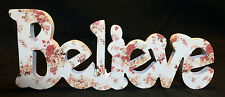 "*SALE* HOME DECOR WOODEN WORD ""BELIEVE"" SIGN PLAQUE WHITE AND FLORAL PATTERN!"