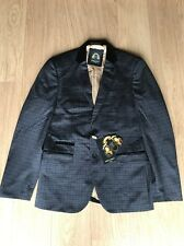 mens marc darcy Fitted blazer Style Cane Blue Checked Velvet Size 40R Sale Cheap