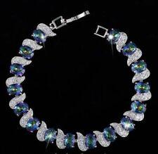 "Beautiful Silver Light Blue/Green Rainbow & White Topaz Tennis Bracelet 7"""