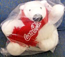"NEW Coke 4"" Mini Plush Polar Bear w/ Holiday Red Coca Cola Scarf; sealed"