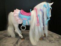 "RARE HAIR PLAY STYLISH COMPANION HORSE FOR 18"" DOLLS RUFFLED SADDLE"