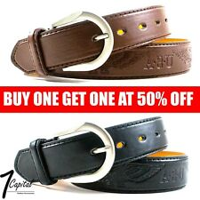 Men's Genuine Leather Metal Buckle Jean Casual Dress Belt Black Brown M L XL