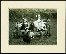 POMERANIAN DOGS AND GIRLS SIT ON BENCH LITTLE DOG PRINT MOUNTED READY TO FRAME