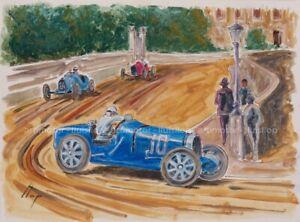 Artimotor - acrílico 31x23 / 1933 Achille Varzi (Bugatti T51) GP Mónaco