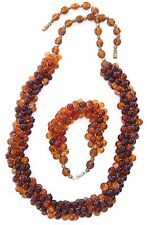 Amber Glass Bead Necklace Bracelet SET Hand Wired India Art Glass 70s 80s