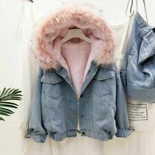Women Fleece Lined Denim Jacket Coat Thicken Hooded Faux Fur Collar Winter