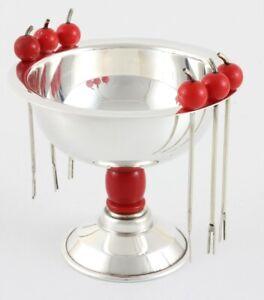 Art Deco Cherry Cocktail Sticks Picks & Silver Plated Olive Bowl. PHV Co. c1930