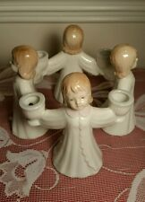 R R Roman Porcelain 4 Angel Candle Holder, Valenciana Collection, Exc. G U Cond.