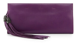 Gucci Clutch Nouveau Bamboo Tassels Violet Leather Clutch