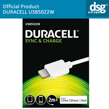 USB5022W GENUINE DURACELL SYNC & CHARGE CABLE FOR iPhone iPad - 2M - WHITE