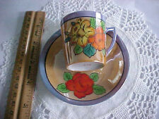 Old Japan vintage china demi tea cup saucer gold lusterware hand painted