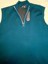 Peter Millar Element 4 Wool Blend Quarter Zip Sweater Vest NWT Medium $175 Green
