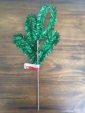 "Celebrate It Christmas Green Metalic Tinsel Picks Floral 15"" New"