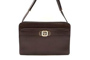 Christian Dior Vintage Shoulder Bag CD Logo Square Leather Brown 4320h