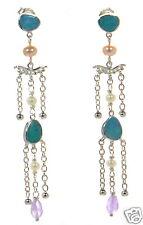 Whitney Kelly WK Solid 925 Sterling Silver Opal & Pearl Chandelier Earrings '