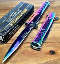 Tac-Force Tacti Spring Assisted Stiletto GOD Father Rainbo Pocket knife W/ Clip