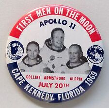 1969 APOLLO 11 FIRST MEN ON THE MOON Astronaut NASA Space large pinback button