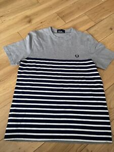 Boys Fred Perry Striped Tshirt Youth Large Age 14-16 Casual Designer VGC