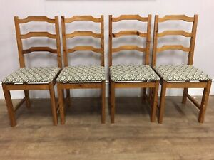 Set Of 4 Pine Ladder Back Kitchen Dining  Chairs Solid Pieces