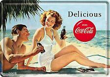 Nostalgic Art Blechpostkarte Coca Cola Strand Palme Meer Sommer Sonne #