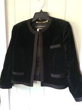 Vintage 80's Louis Feraud Black Velvet Satin Trim Cardigan Blazer Jacket US 10