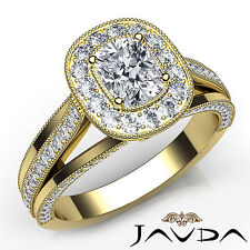 Cushion Diamond Halo Engagement GIA F VVS2 18k Yellow Gold Milgrain Ring 1.61Ct