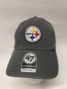 Pittsburgh Steelers '47 NFL CLEAN UP Cap Hat Adjustable Strapback Gray 👍
