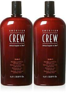 American Crew 3-in-1 Shampoo, Conditioner and Body Wash 33.8oz 2-PK