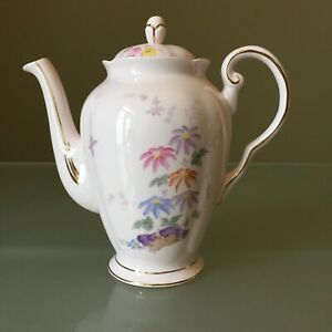 Pink Tuscan Vintage Bone China Coffee Pot Oriental Floral Butterfly 1&1/2 Pints