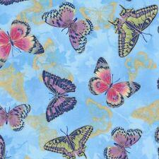 Flights of Fancy Pink, Purple & Gold Butterflies on Blue Cotton Fabric - FQ