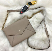 KATE SPADE Taupe Envelope Style Convertible Clutch / Cross-Body Bag Authentic