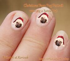FAWN PUG Christmas Santa Hat, Set of  24 Dog Nail Art Stickers Decals