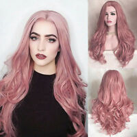 Women Fashion Synthetic Hair Wig Long Wavy Pink Full Wigs Cosplay Party Wig