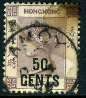 China 1891 Hong Kong 50¢/48¢ Purple QV SG #49 VFU J573 ⭐⭐⭐⭐⭐⭐