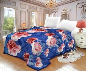 Fleece Blanket Large Sofa Throw Soft Warm Faux Fur Floral Mink Double King Size