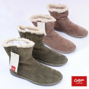 Mens Womens Unisex Cotton Trader Fur Lined Sherpa Boots Thermal Snow Winter Work