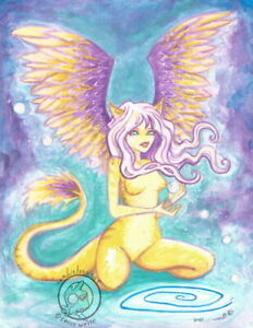 Sphinx Cat Cartoon kitty Nymph feather wing two sided Fantasy ACEO PRINT art ejw