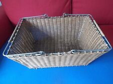 Wicker Cane Basket on Metal Frame with 2 handles Condition good