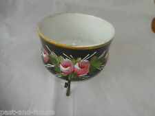 ANTIQUE SMALL CACHE POT ON ORMOLU WIRE STAND, HANDPAINTED ROSES