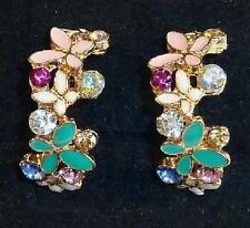 Round Enamel Yellow Gold Plated Costume Earrings