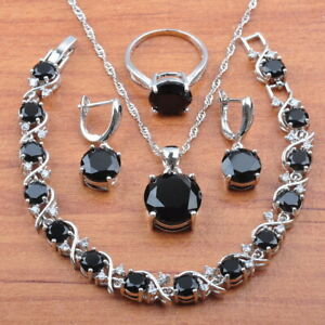 black sapphire jewelry set for women sterling silver birthday gift free shipping