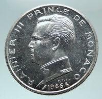 1966 MONACO King Rainier III Crown Antique Genuine Silver 5 Franc Coin i82114