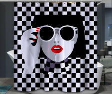 Woman Sunglasses Red Lips Fabric Shower Curtain 70x70 Black and White Checkered