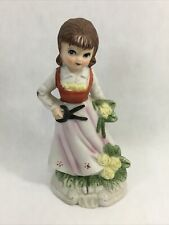 "Girl Cutting Flowers Vintage Porcelain Figurine Yellow Flowers 4.5"" Taiwan"