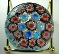 ITALIAN MILLEFIORI Paperweight MURANO CANE Art Glass Red White Blue NICE!