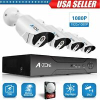 A-ZONE Full HD 8CH 1080P POE NVR Outdoor CCTV Security Camera System + 1TB HDD