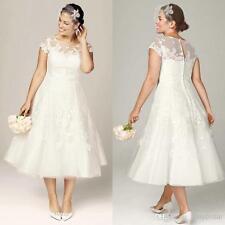 Sheer Wedding Dresses Short Sleeve Appliques Tea Length Bridal Gowns Plus Size