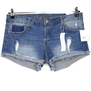 Rue21 Shortie Cut Off Jean Shorts Curvy Low Rise Size 7 8 Stretch Distressed