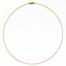 "14 KT Yellow Gold Thin Cable Wire Collar Necklace .50 mm 16"" Lobster Clasp NEW"
